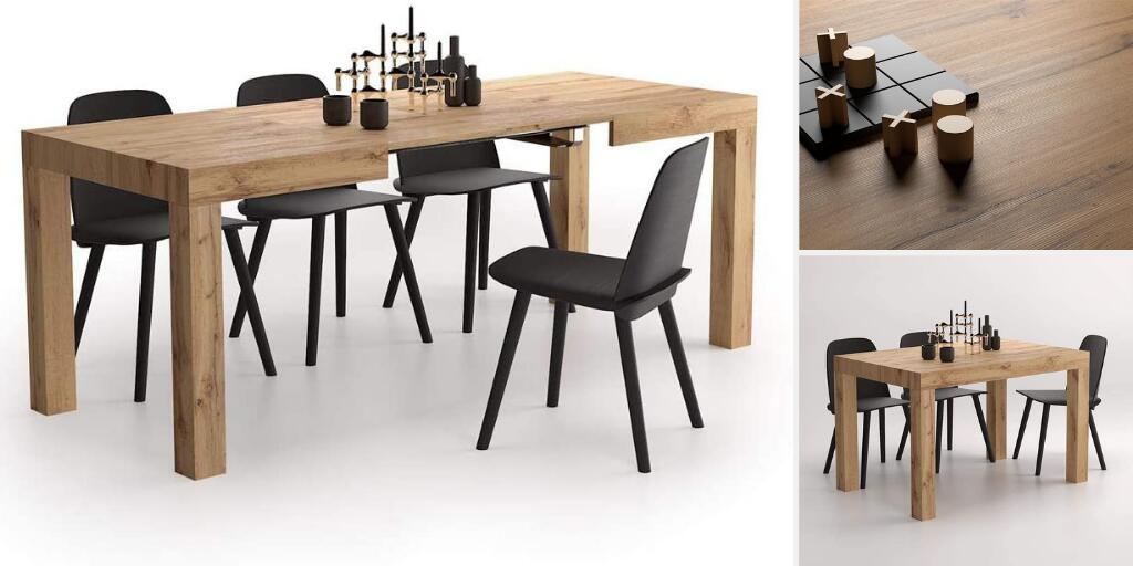 mesa estilo industrial extensible para comedor