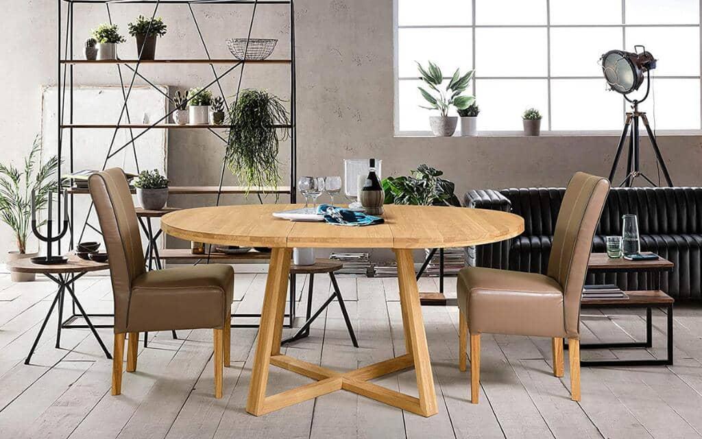mesa estilo industrial redonda extensible