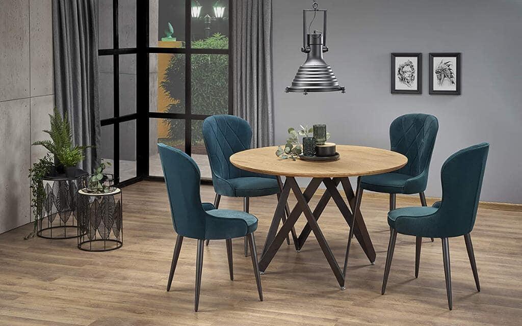 mesa redonda estilo industrial para salón