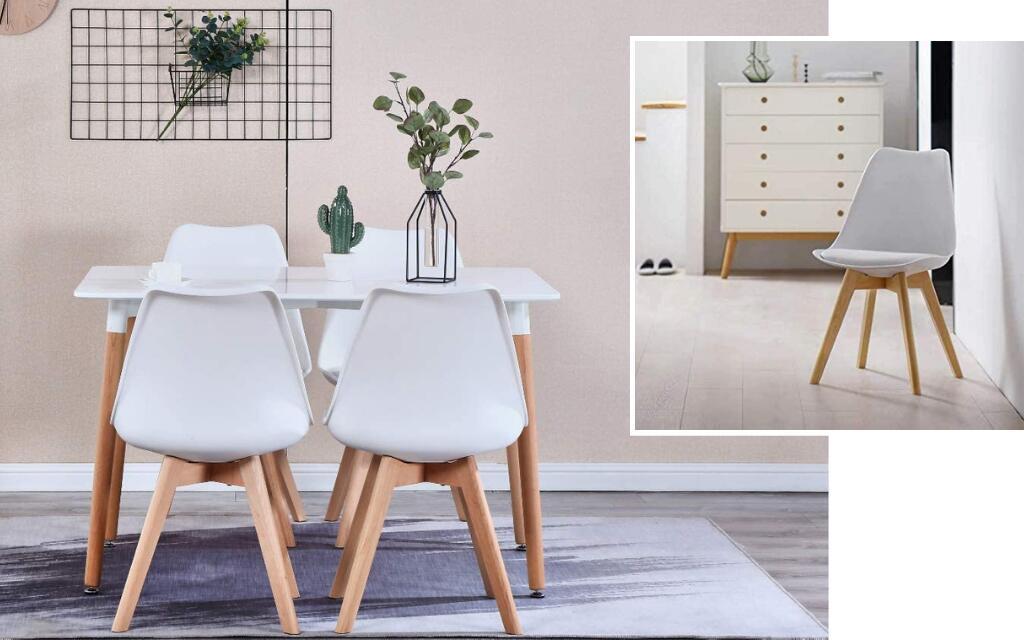 silla estilo industrial tapizada blanca