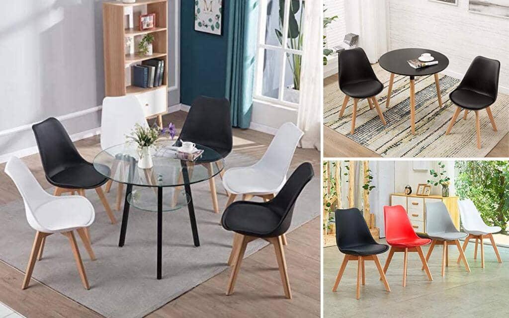 silla estilo industrial tapizada de madera