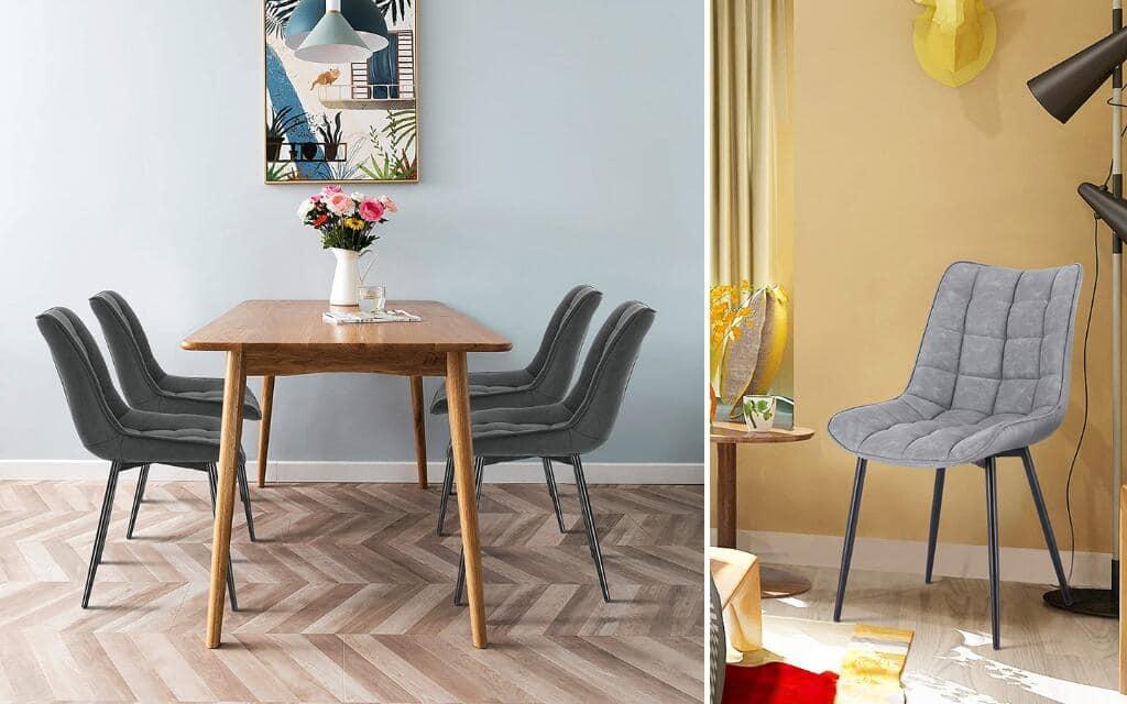 silla estilo industrial tapizada para comedor