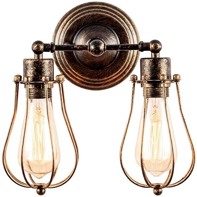 lampara de pared industrial dorada