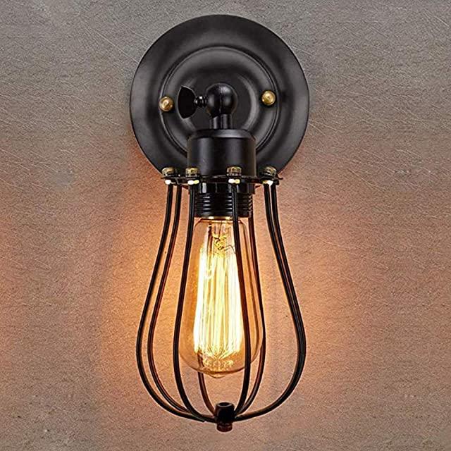 lampara de pared industrial con reja