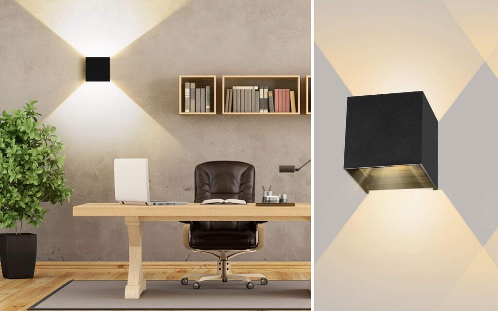 lampara de pared con iluminación hacia ambos lados