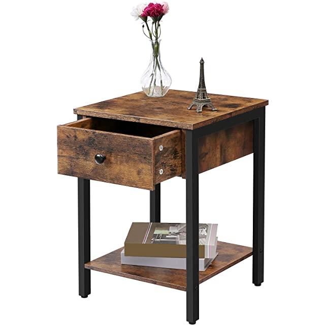 mesa de noche industrial metal madera