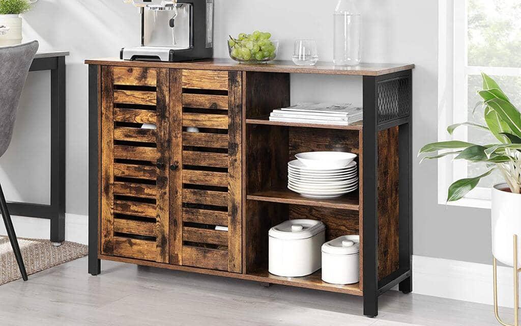 armario vasagle industrial metal madera