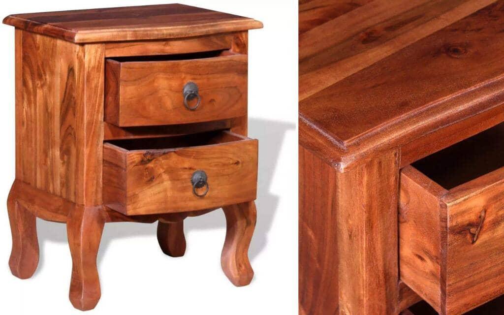 mesa de noche artesanal restaurada