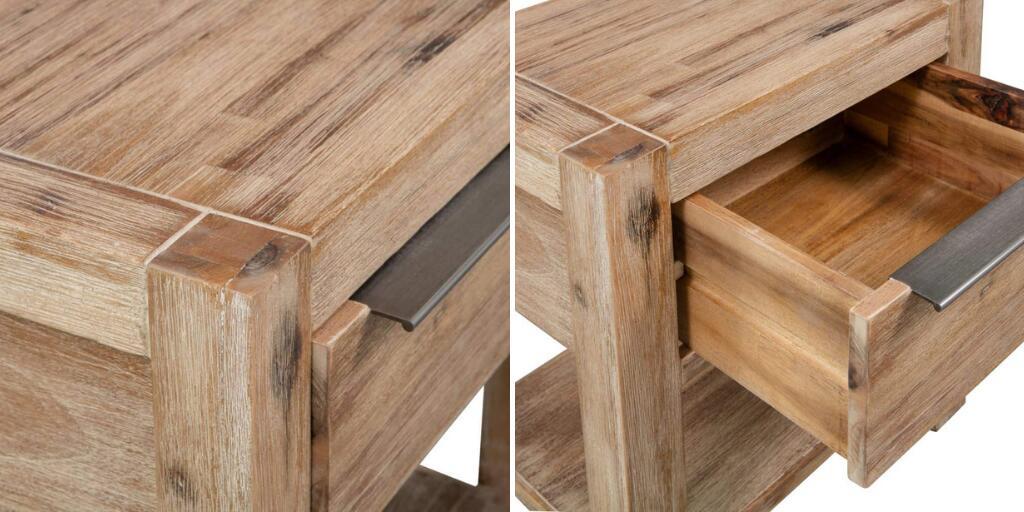 mesa de noche industrial de madera